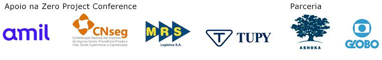 """Descrição da imagem: conjunto de logomarcas das empresas apoiadoras. Sob o escrito em inglês: """"At Zero Project Conference Supported By"""", estão as marcas Amil, CNseg, MRS Logística e Fundição Tupy. Sob o escrito """"Partnership"""", estão as marcas Ashoka e TV Globo."""