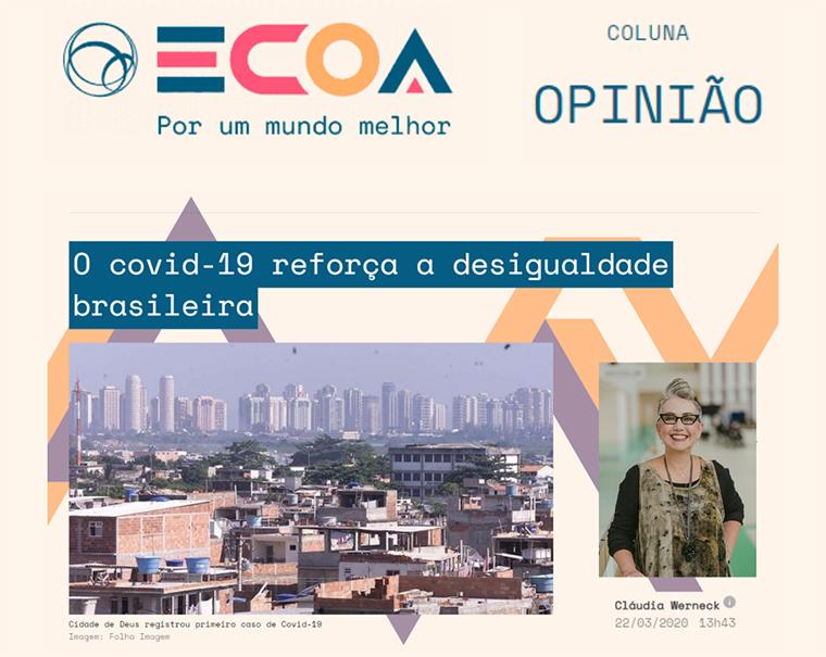 Recorte da página da publicação do artigo, onde em destaque está uma foto que em primeiro plano estão casas da Cidade de Deus, e ao fundo, prédios da Barra da Tijuca.
