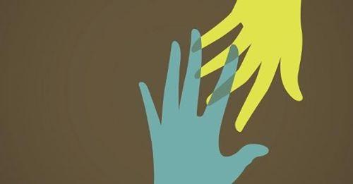 ilustração, duas mãos coloridas se entrelaçam
