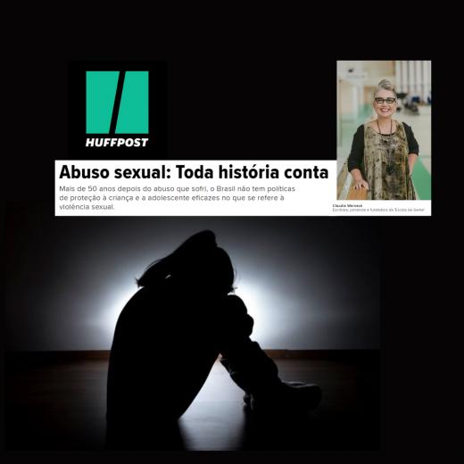 Capa do artigo publicado no Huffpost Brasil. Na imagem, o contorno de uma menina sentada de lado no chão, com os braços abraçados aos joelhos recolhidos.