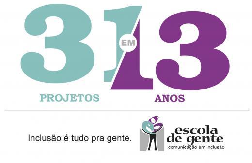 Logotipo da campanha de 13 anos da Escola de Gente. Nele, são enaltecidos os 31 projetos da Escola de Gente, com os 13 anos de idade da ONG.